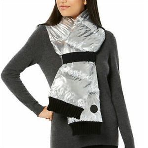 NEW DKNY Metallic Silver Quilted Puffer Scarf